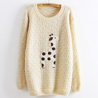 Beige Super Adorable Cartoon Giraffe Loose Pullover Sweater