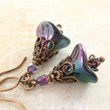 Flower Dangle Earrings - Purple and Green Peacock Color Earrings Czech Glass Flower Jewelry Antique Copper Peacock Green and Purple Earrings