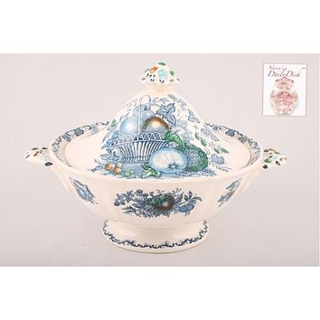 Blue English Transferware Tall Covered Tureen Pedestal Bowl Masons w/ Hand Painted Fruits in a Basket