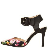 Pointed Floral Print D'Orsay Pumps by Charlotte Russe
