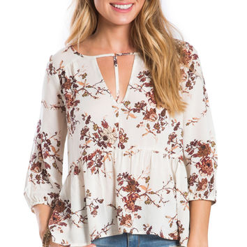 Heavenly Floral Fusion Peplum Top