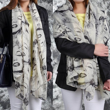 Fashion Woman Lady Girl Marilyn Monroe Graffiti Chiffon Shawl Scarf New (Color: Light grey) = 1958314052