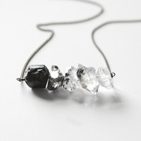 Black Tourmaline Herkimer Diamond Ombre Necklace