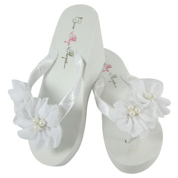 White Wedge Wedding Flip Flops