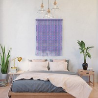 Violet Stripes with Flowers Wall Hanging by gx9designs