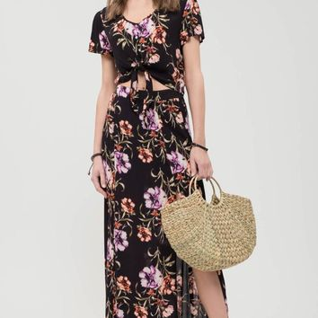 floral maxi skirt with slit