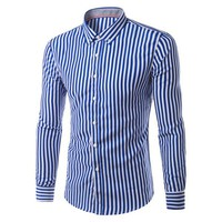 2017 New Fashion Hemiks Men's Classic Slim Fit Vertical Striped Long sleeve Dress Shirt Best for Office and Street Wear