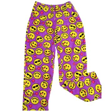 Confetti and Friends Girl's Fuzzie Pants Purple Emoji