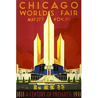 vintage 1933 CHICAGO WORLD'S FAIR EXPOSITION poster 24X36 PRIZED rare NEW! - PW0