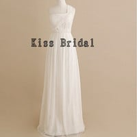 A-line One-shoulder Sleeveless Floor-length Chiffon Bridesmaid Dress With Free Shipping