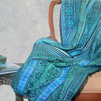 Boho Throw Blanket, Picnic Blanket, Sofa Throw Teal Hmong Embroidered With Fringe Bohemian Decor