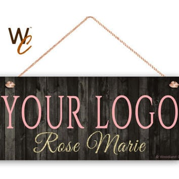 """Company Sign, Place Your Logo on Sign, Personalized 6""""x14"""" Sign, Promote Business or Boutique, Rustic Style , Glitter Name, Made To Order"""