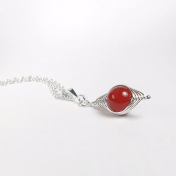 Red Carnelian Sterling Silver Herringbone Wire Wrapped Pendant Necklace Simple Jewellery