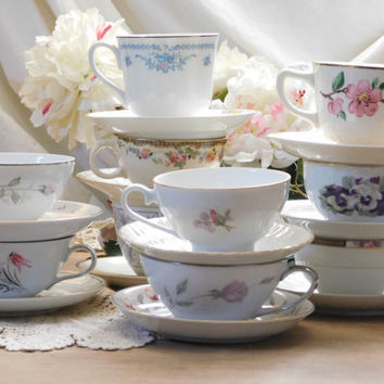 Mismatched China Tea Cups and Saucers, Set of 10