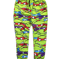 Green Cartoon Emoji Teenage Mutant Ninja Turtles 3D Print Joggers Pants