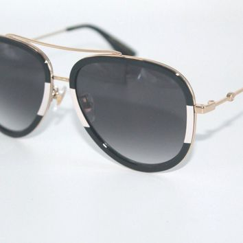 GUCCI Womens Sunglasses GG0062S 006 Gold/Black/White Frame W/ Grey Gradient Lens