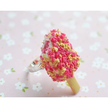 Strawberry Short Cake Ice Cream Bar Adjustable Ring, Polymer Clay Miniature Food Jewelry