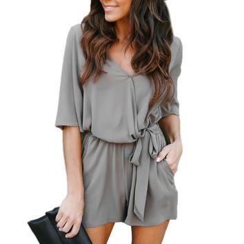 Office Ladies Gray Elegant Overalls Summer Women Half Sleeve V-Neck Casual Jumpsuit Womens Sexy Bodycon Rompers Playsuit #JO