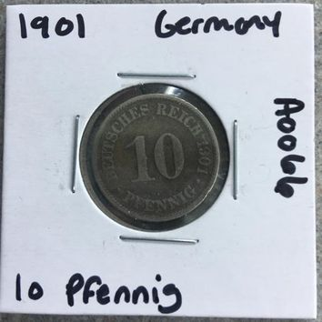 1901 German Empire 10 Pfennig Coin A0066