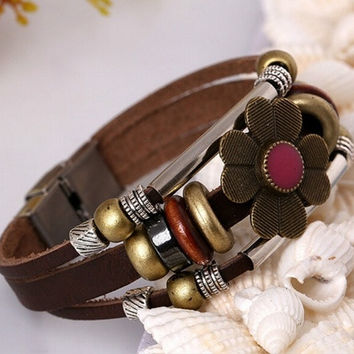 New Fashion Handmade Antique Bronze Plated Jewelry Sun Flower Metal Buckle Beaded Leather Bracelets,Vintage Charm Leather Bracelets & Bangles ,Personality Wrap Leather Bracelet For Female Party Gifts,Genuine Leather  Bijouterie Wristband Unisex Men Woman