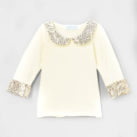 Sparkle Sequins Peter Pan Collar Shirt Champagne Bubbles Gold