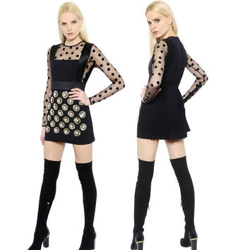 Slim Long Sleeve See Through One Piece Dress [4918834436]