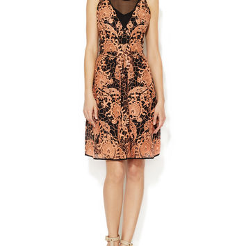 Yoana Baraschi Women's Arabesque Silk Embroidered Dress - French Rose/Black