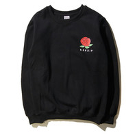 RIPNDIP Red Roses Lord Nermal Baby Jesus Black Pocket Crew Neck Sweatshirt