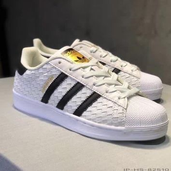 """Adidas Superstar II"" Women Casual Fashion Multicolor Stripe Weave Plate Shoes Sneakers"