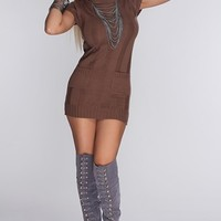 Brown Knitted Turtle Neck Sexy Sweater Dress