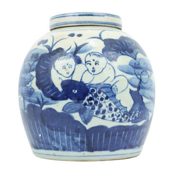 """Beautiful Blue and White Porcelain Ginger Jar Child with Fish Motif 10"""""""