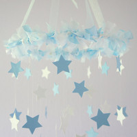 Baby Blue & White Star Mobile  Nursery Mobile by LoveBugLullabies