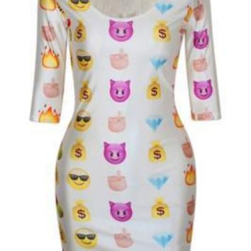 Lovely White Bodycon Dress with Emoji Print