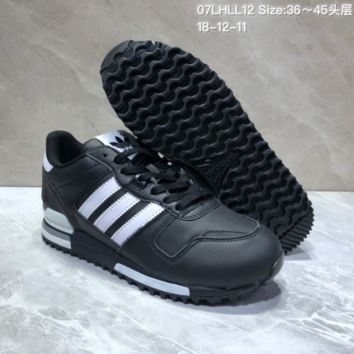KUYOU A396 Adidas Originals ZX700 Leather Sports Running Shoes Black White