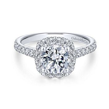 Platinum .66cttw Amavida Cushion Halo Diamond Engagement Ring Mounting with Ornate Gallery