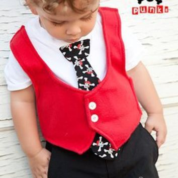 Pirate Skull Tuxedo Onesuit or Shirt by Teeny Punks - $28