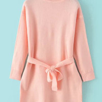 Pink Turtleneck Tie-waist Knit Long Sleeve Sweater
