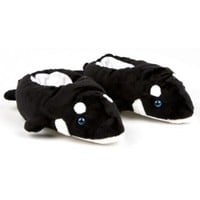 Black Orca Killer Whale Animal Slippers w/ Sounds!