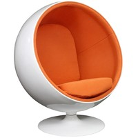 LexMod Eero Aarnio Style Ball Chair in Orange