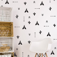 Tee Pee, Cactus, Arrow Mixed Wall Decal / Tee Pee Wall Decals / Cactus Sticker / Arrow Wall Decal / Indian Wall Decal / custom kids / gift