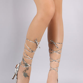 Breckelle Python Open Toe Lace Up Stiletto Heel