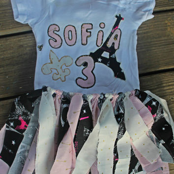 3rd birthday outfit girl, personalized birthday outfit, first birthday outfit girl, paris birthday outfit, paris tutu, paris french party