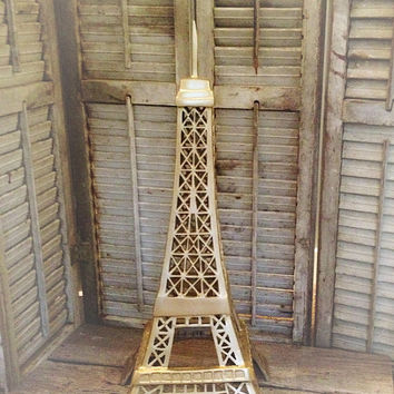 Gold Eiffel Tower Large Statue Paris Decor Table Center Piece, French Provincial Living room Decor, FarmHouseFare