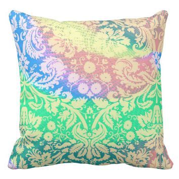 Bright Pastel Floral Throw Pillow