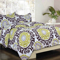 Salamanaca Full Size Green/ Brown/ Gray Bed Set