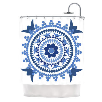 "Carolyn Greifeld ""Bohemian Blues"" Blue White Shower Curtain"