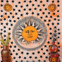 Sun and Moon Orange Tapestry Indian Hanging Wall Double Bed Sheet TIUK DBS195