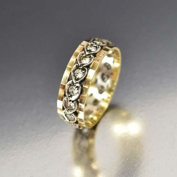 Antique White Topaz Art Deco Wedding Band Ring