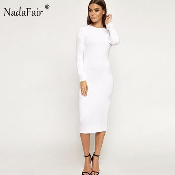 Nadafair long sleeve o neck solid autumn dress casual sexy elegant party midi pullover dress women spring t shirt dress white