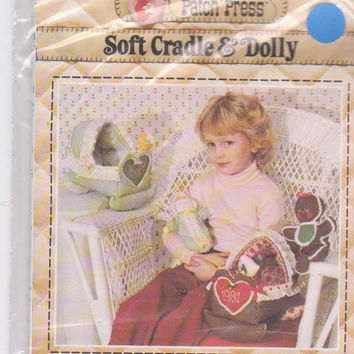 "Soft Cradle and Dolly pattern for soft sculpture fabric cradle/10"" fabric baby doll by Elise Peeples for Patch Press 348C UNCUT"